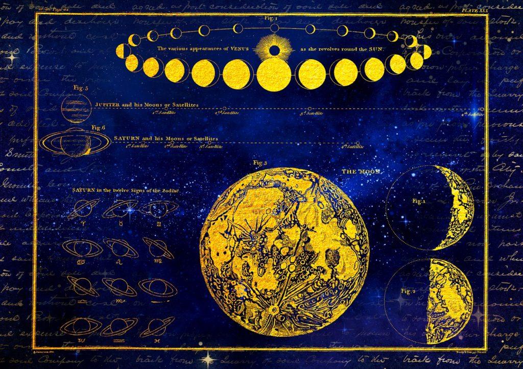 moon, saturn, venus